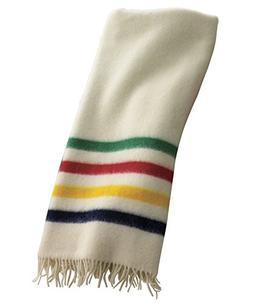Woolrich Hudson Bay Capote Throw Natural with Multi Stripes