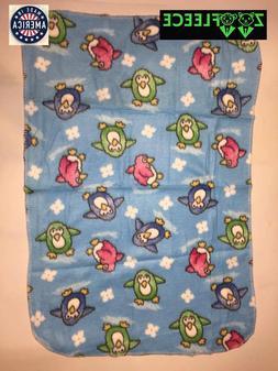"""ZooFleece Blue Penguins 30X40"""" Baby Blanket Throw Quilt Unis"""