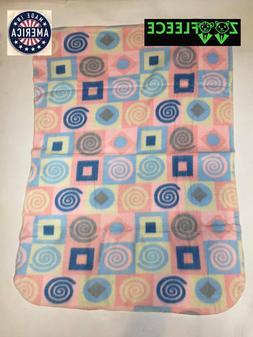 """ZooFleece Pink Shapes 30X40"""" Baby Blanket Throw Quilt Winter"""