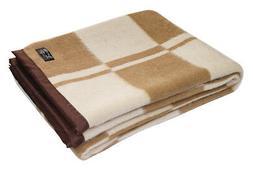 Alpaca Wool Blend Woven Blanket Throw With Trim Checkered De