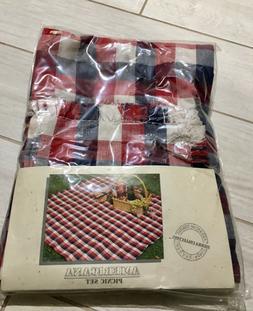 Americana picnic 🧺 Set 100% Cotton Warren Plaid Throw Bla