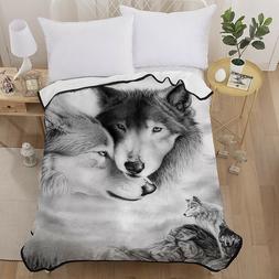 Animal Wolf Throw Rug Soft Warm Blanket Sofa Bed Faux Fur Mi