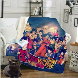 Anime Dragon Ball Bedding 3D Sherpa Blanket Sofa Couch Quilt