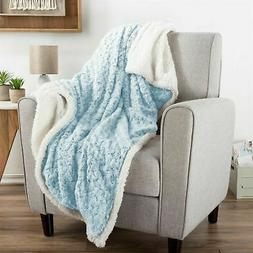 Aqua Blue and Gray Swirly Sherpa Soft Fleece Throw Blanket 5