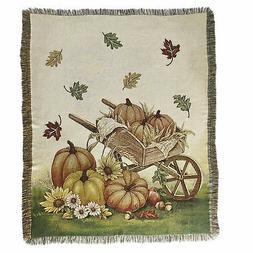 Autumn Throw Blanket with Pumpkin, Wheelbarrow, Fall Leaves