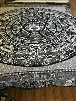 Aztec Calendar Queen Throw Blanket Made in Mexico