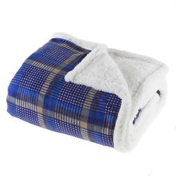 Lavish Home 61-00004-B Fleece Sherpa Blanket Throw - Plaid B