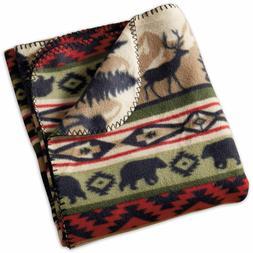 "Back Country Throw Blanket New Fleece Elk Bear 50"" x 60"""