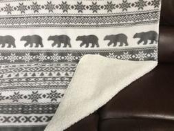 "BERKSHIRE Bear Plush Blanket Throw w/Sherpa Fleece Back ~50"""