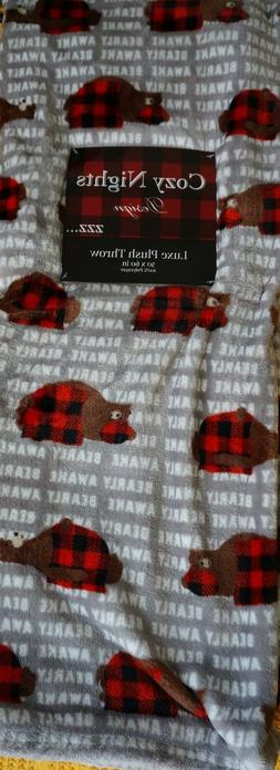 🐻 Bearly Awake Sleeping Brown Bear Red Checked Plaid Luxe