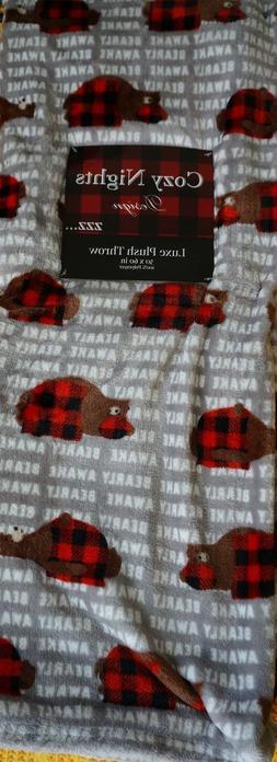 bearly awake sleeping brown bear red checked