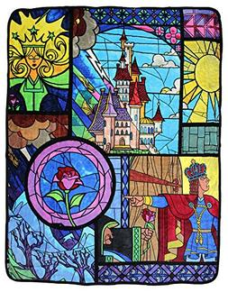 "Disney Beauty and the Beast Stained Glass 46"" x 60"" Soft Plu"