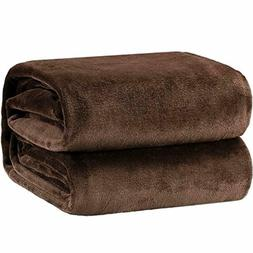 Bedsure Flannel Fleece Luxury Blanket Brown Queen Size Light