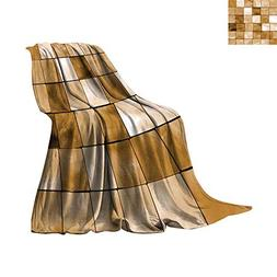 Beige Blanket as Bedspread Faded Tiles Wood Cubes Squares Ge