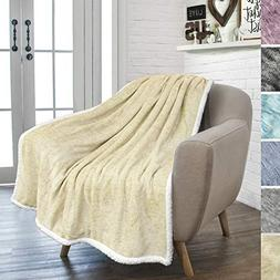PAVILIA Premium Beige Sherpa Melange Throw Blanket for Couch