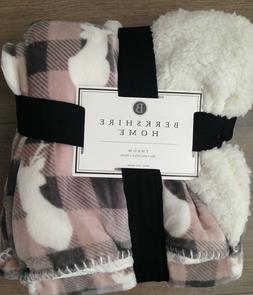 Berkshire Throw Blanket Plaid Deer Sherpa Rustic farmhouse H