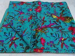 bird print cotton kantha quilt