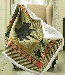 BLACK BEAR PAW SHERPA QUILT THROW : CABIN COUNTRY MOUNTAIN S