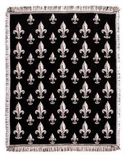 "Black Fleur De Lis Fringed Afghan Throw Blanket 60"" x 50"
