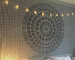 Black white Elephant Mandala Tapestry, Hippie Tapestries, Wa