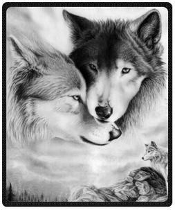 "black and white wolf Plush Throw Blanket Travel Blanket 50"""