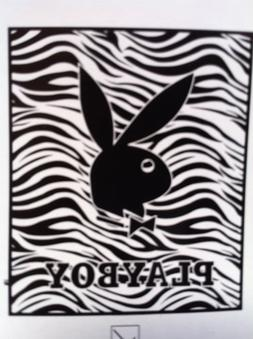 "Playboy Black and White Zebra Throw Blanket 50""x60"""