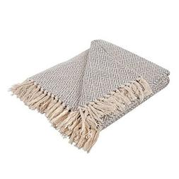 Blanket Throw Gray Cotton Rustic Farmhouse Decor Chair Couch