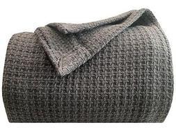 Homvare Blanket/Throw Super Soft Cotton Basket Weave King 90