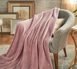"Berkshire Blanket Velvet Soft Large Braid 60 x 70"" Throw-Pin"
