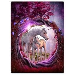 Blankets Fleece Blanket Throw for Sofa Bed Unicorn Horse Mag