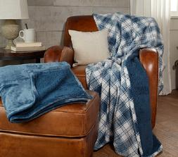 Berkshire Blankets Set of 2 Plaid & Solid Throws Faux Fur Re