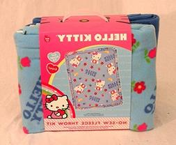 Hello Kitty on Blue Background with Flowers and Birds No Sew