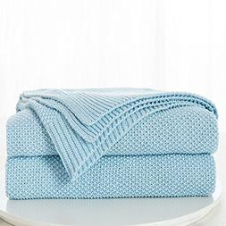 100% Cotton Light Blue Cable Knit Throw Blanket with Bonus L
