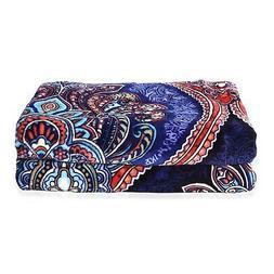 Blue Floral Printed Pattern Microfiber Flannel Blanket Soft