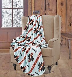 LIGHT BLUE Native Western Luxury Soft Fleece Cashmere Twin T