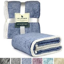 PAVILIA Premium Blue Sherpa Melange Throw Blanket for Twin B