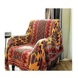 Bohemia Design Weave Sofa Blanket - Geometry Element Cotton