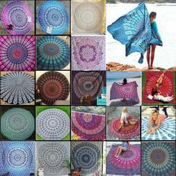 Boho Mandala Round Tapestry Beach Throw Roundie Indian Hippi