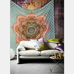Boho 150CM 130CM Psychedelic Orange Lotus Print Tapestry Hip