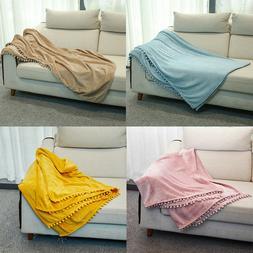Boho Stripe Knit Woven Home Throw Blanket Tassel Fringe Soft