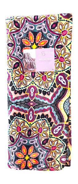Boho Velvet Fleece Throw Blanket: Soft Plush Bright Decorati