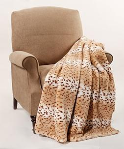 "BOON Animal Faux Fur Throw Blankets, 50"" x 60"", Lynx"