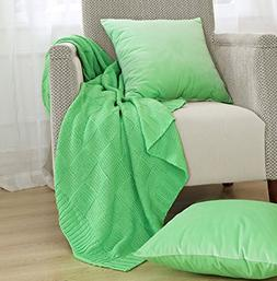 Home Soft Things Boon Checker Cable Throw with 2 Pillow Shel