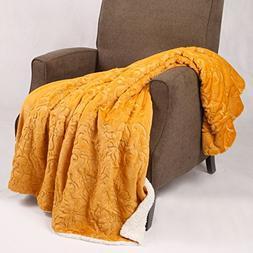 "BOON Embroidery Batik Sherpa Throw Blanket, 50"" x 60"", Honey"