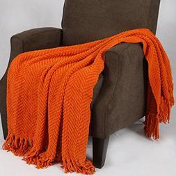 Tweed Knitted Throw Blanket, Burnt Orange