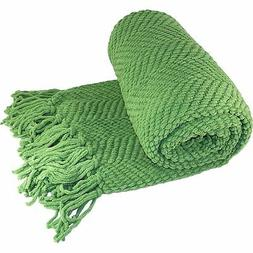 BOON Knitted Tweed Throw Couch Cover Blanket, 50 x 60, Green