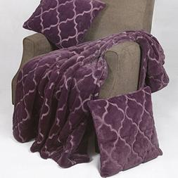 BOON Ogee Tatami Faux Fur Throw Blanket with Pillow Shell Se