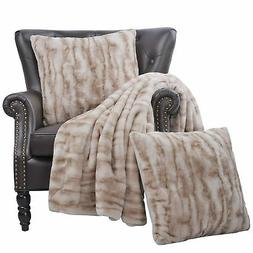 BOON Raccoon Faux Fur Throw Blanket Combo Set