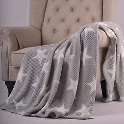 "BOON Star Flannel Travel Throw Blanket, 50"" x 70"", Silver"