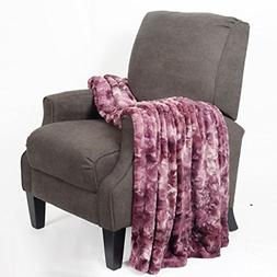 BOON Tie Dyed Double Sided Faux Fur Throw, Purple